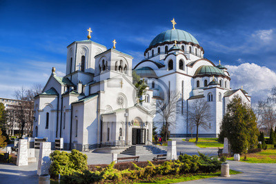 Naklejka Katedra św Sawy w Belgradzie, Serbia m.st.