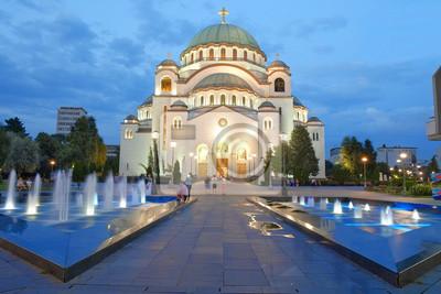 Naklejka Katedra Świętego Sawy w Belgradzie, Serbia na wieczór