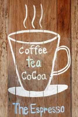 Naklejka Kawa i gorące menu napojów na vintage pokładzie drewna