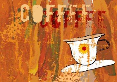 Naklejka kawa ilustracji, menu kawiarni, wolne miejsca na kopię