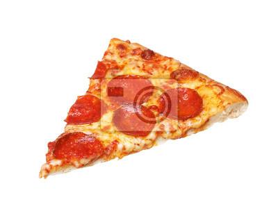 Naklejka Kawałek świeżego włoskiego klasycznej oryginalnej Pepperoni pizza wyizolowanych