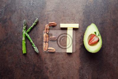 Naklejka Keto słowo wykonane z żywności ketogenicznej
