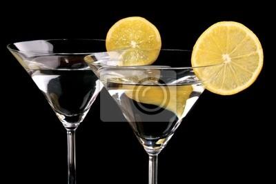 Naklejka Kieliszki do martini na czarnym tle