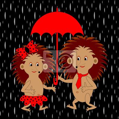 Naklejka Kilka zabawnych jeże kreskówek pod czerwonym parasolem w ra