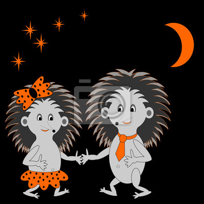 Naklejka Kilka zabawnych jeże kreskówek randki w nocy