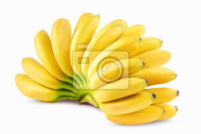 Naklejka Kiść bananów na białym Ścieżka przycinająca