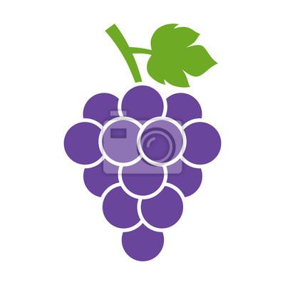 Naklejka Kiść winogron z liści płaski kolor ikony dla aplikacji spożywczych i stron internetowych