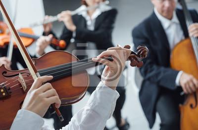 Klasyczna sekcja smyczkowa orkiestra pełniący