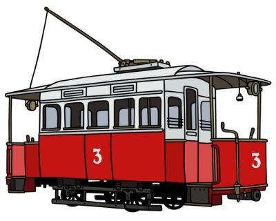 Naklejka Klasyczny czerwony tramwaj / Strony rysunku, ilustracji wektorowych