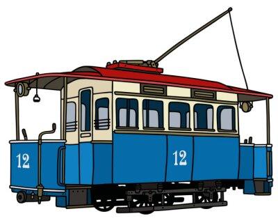 Naklejka Klasyczny niebieski tramwaj / Strony rysunku, ilustracji wektorowych