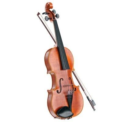 Naklejka Klasyczny skrzypce strunowe drewniany instrument muzyczny. grafika 3D