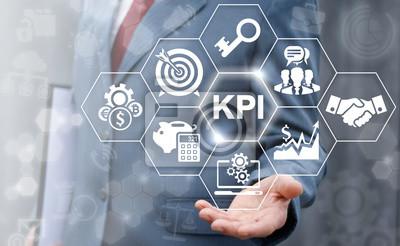 Naklejka Kluczowym wskaźnikiem wydajności komputera WWW biznes plan koncepcji. Biznesmen Oferta KPI Sukces koncepcji