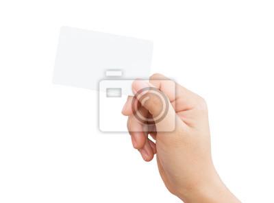 Naklejka kobiet strony gospodarstwa puste karty odizolowane ścieżki obcinania na obraz d