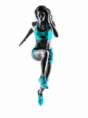 Naklejka Kobieta biegacz biegacz joggingu sylwetka