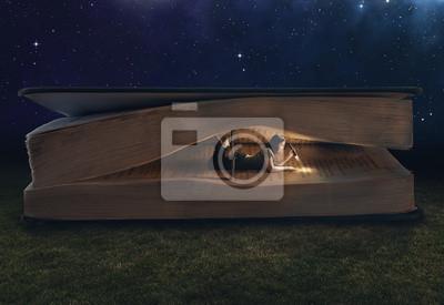 Naklejka Kobieta czytania w wielkim książki