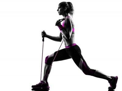 Naklejka kobieta fitness ćwiczenia zespoły oporu