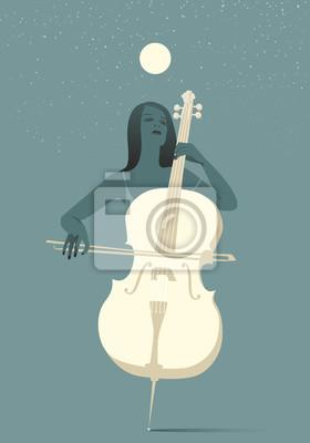 Naklejka Kobieta gra na wiolonczeli w świetle księżyca i gwiazd