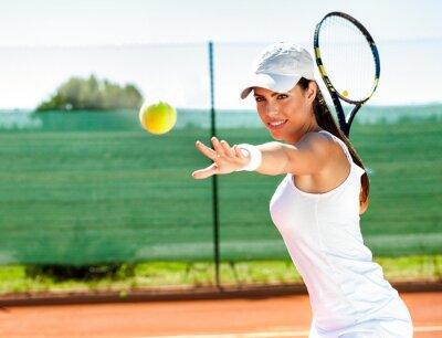 Naklejka Kobieta gra w tenisa