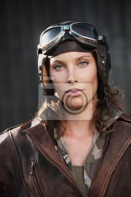 Kobieta lotnik: modelka portret