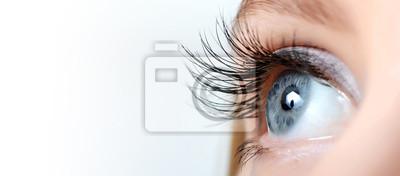 Naklejka Kobieta oczu z długimi rzęsami makro
