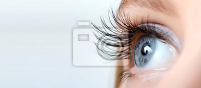 Naklejka Kobieta oko z długimi rzęsami makro