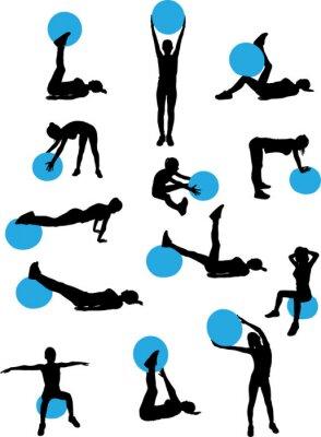 Naklejka kobieta pilates trening kolekcja - wektor