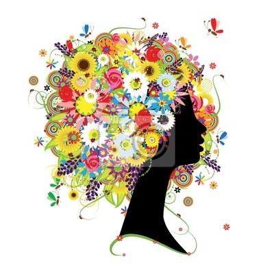 Naklejka Kobieta profil, kwiatowy fryzurę dla swojego projektu