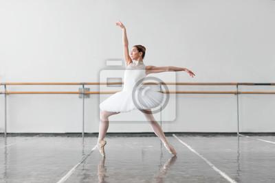 Naklejka Kobieta tancerka baletowa utrzymać zębatki w klasie