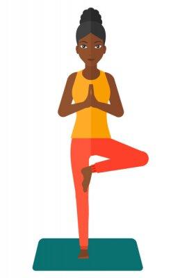 Naklejka Kobieta uprawiania jogi.