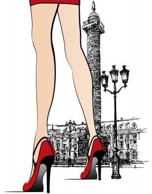 Naklejka Kobieta w pobliżu kolumny Vendome w Paryżu