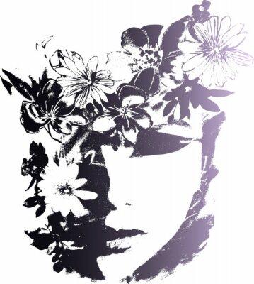 Naklejka kobieta z kwiatem ilustracji mody