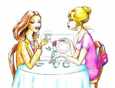 Naklejka Kobiety picia kawy.