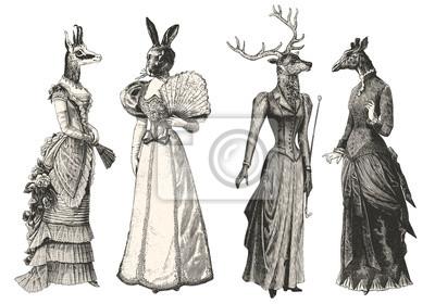 Naklejka Kobiety z głowami zwierząt