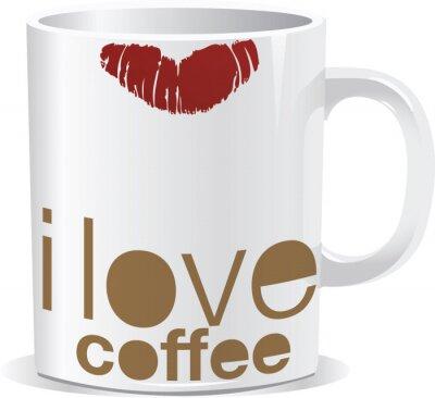 Naklejka Kocham kubek kawy