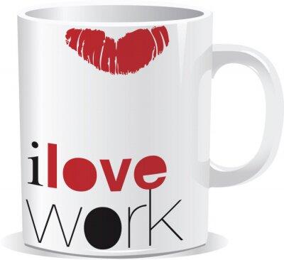 Naklejka Kocham kubek pracy