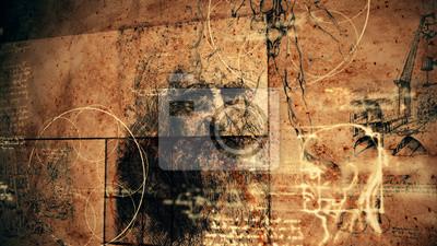 Naklejka Kod Da Vinci Klasyczna Retro Ilustracja