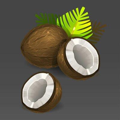 Naklejka Kokosowe z zielonych liści