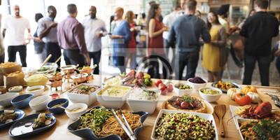Naklejka Kolacja w formie bufetu jadalnia jedzenie Celebration Party Concept