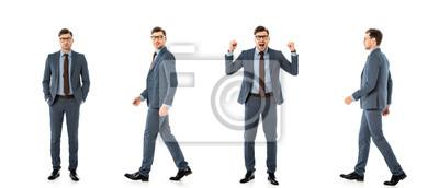 Naklejka kolaż dorosłego biznesmena w garniturze spaceru i stojąc z różnych emocji na białym