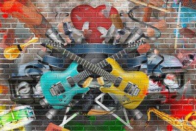 Naklejka Kolaż z muzyką, kolorem i jasnym tle muzycznym