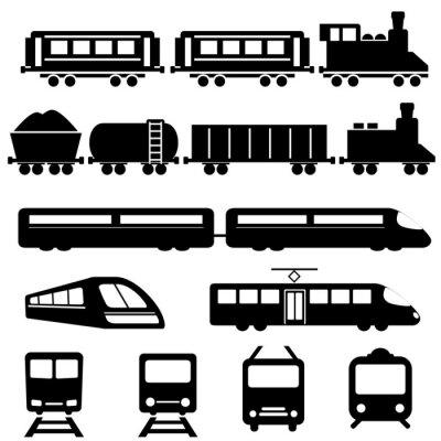 Naklejka Kolejowe i kolejowego transportu ikony