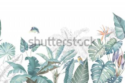 Naklejka Kolekcja akwarela tropikalnych liści i scen.