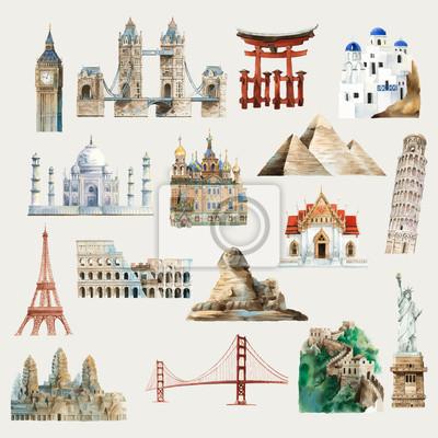 Naklejka Kolekcja architektonicznych zabytków na całym świecie akwarela ilustracji