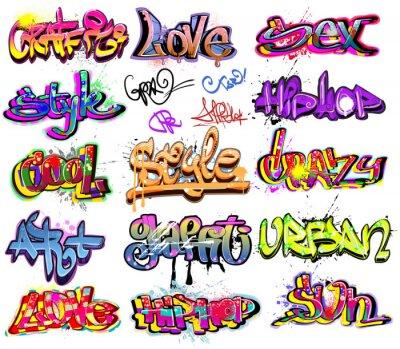 Naklejka Kolekcja Graffiti vector background . Hip -hop projekt