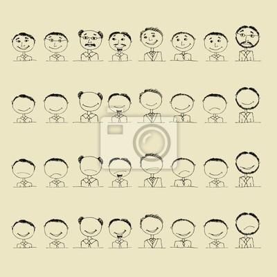 Naklejka Kolekcja ikon uśmiech, twarze mężczyzn