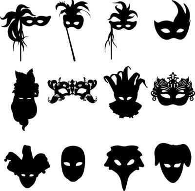 Naklejka Kolekcja karnawałowe maski weneckie sylwetka tle