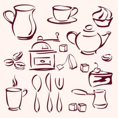 Naklejka Kolekcja kawy herbata i ciastka sylwetki