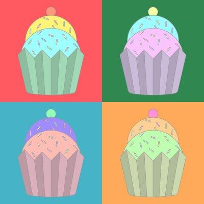 Naklejka Kolekcja kolorowych ikon Cupcake