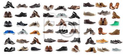 Naklejka Kolekcja męskich butów na białym tle