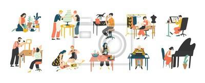 Naklejka Kolekcja osób korzystających z ich hobby - ogrodnictwo w domu, kulinarne, szycie, rysunek, tworzenie kolaży papierowych, florystyka, pisanie, granie na pianinie. Kolorowa wektorowa ilustracja w płaski